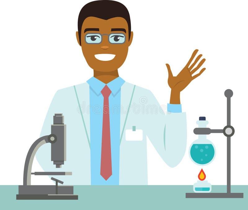 Jonge wetenschapper die in een laboratorium werken vector illustratie