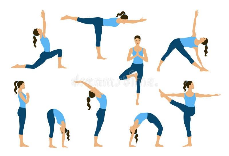 Jonge women do yoga oefeningen royalty-vrije illustratie