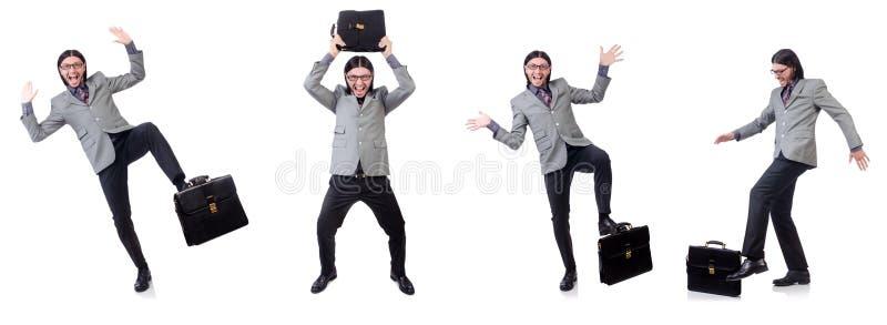 Jonge zakenman in de grijze die aktentas van de kostuumholding op whi wordt geïsoleerd stock afbeeldingen