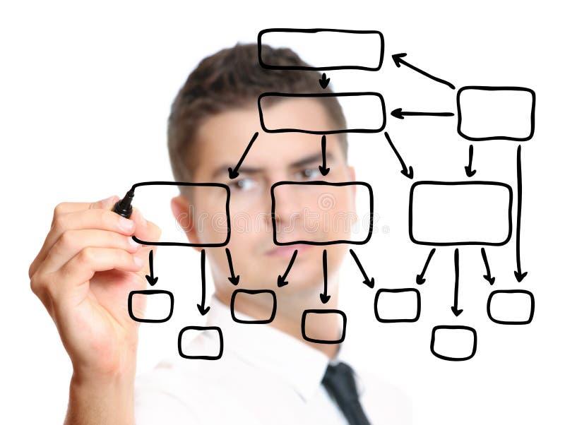 Jonge zakenman die een diagram trekt stock afbeeldingen