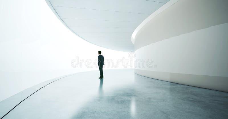 Jonge zakenman die kostuum en tribunes in dragen stock afbeelding