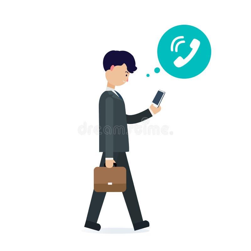 Jonge zakenman die met telefoon en oproeppictogram lopen stock illustratie