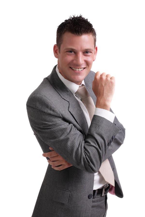 Jonge zakenman die op witte achtergrond wordt geïsoleerdw royalty-vrije stock foto