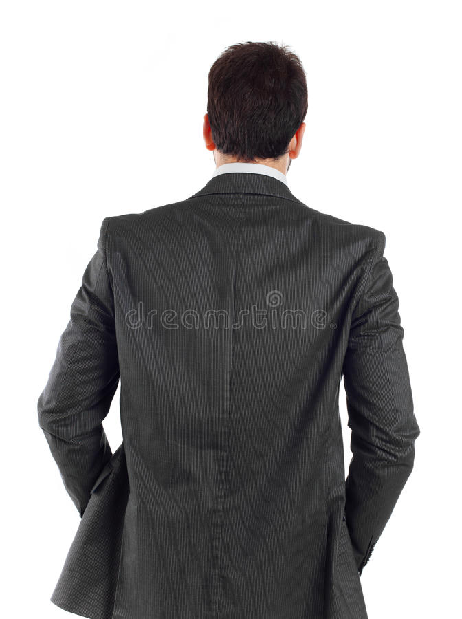 Jonge zakenman die van hem draaien terug naar camera royalty-vrije stock fotografie