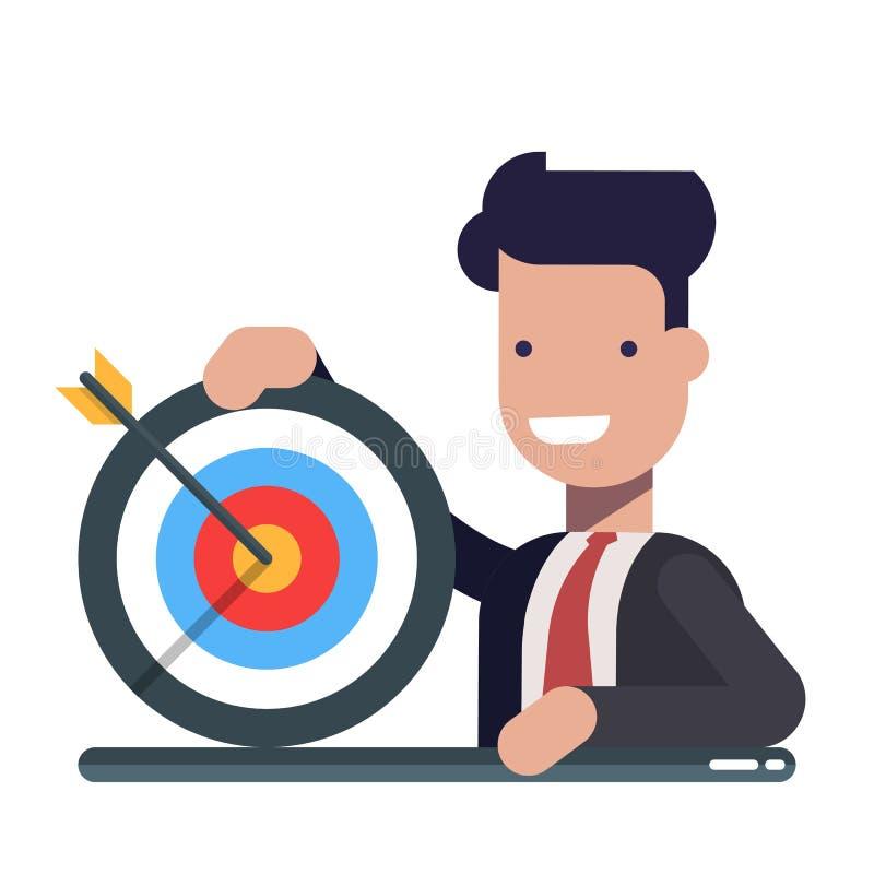 Jonge zakenman of manager met een in hand doel Het concept het bereiken van het doel Versla de pijl Vlakke vector royalty-vrije illustratie
