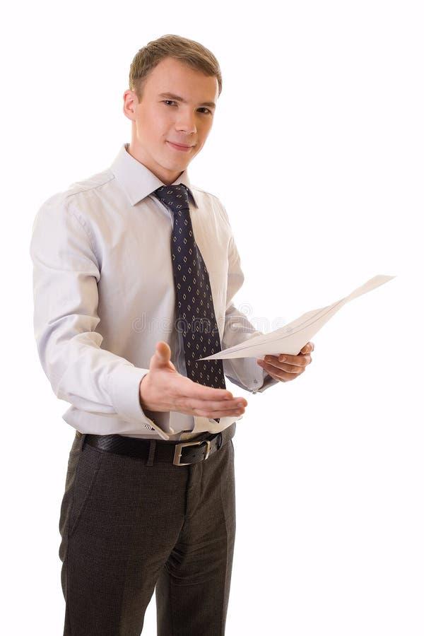 Jonge zakenman met een hand royalty-vrije stock foto