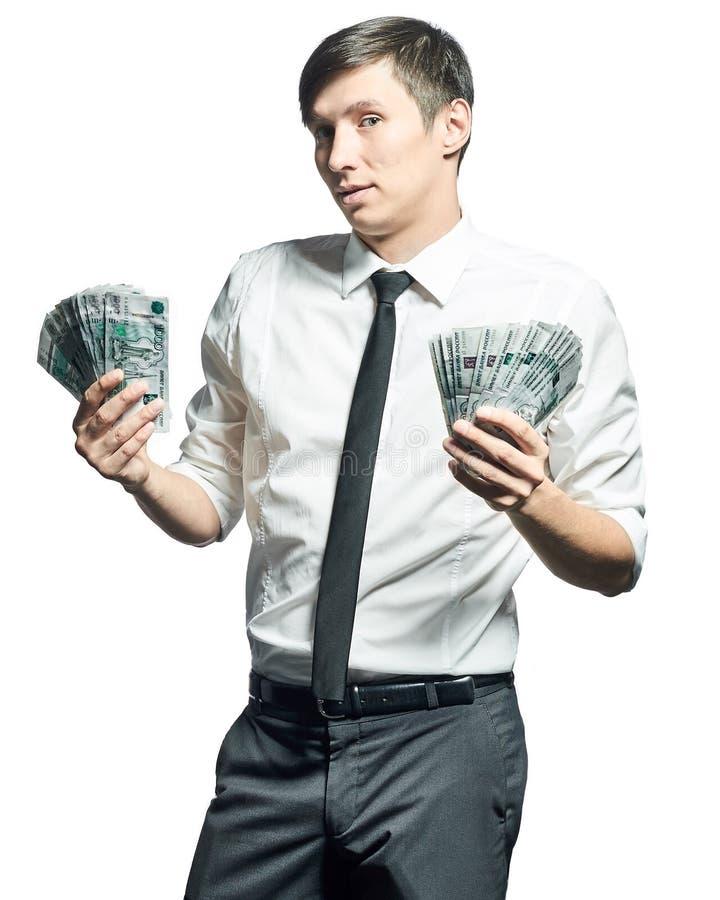 Jonge zakenman met geld stock afbeeldingen