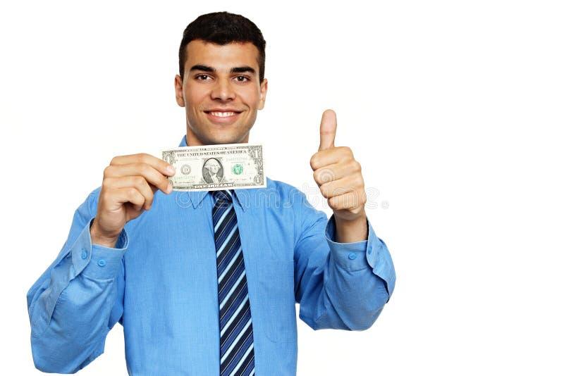 Jonge zakenman met geld royalty-vrije stock fotografie