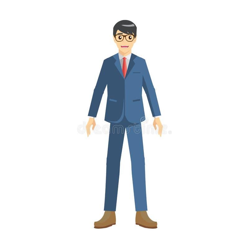Jonge zakenman met glazen en kostuums stock illustratie
