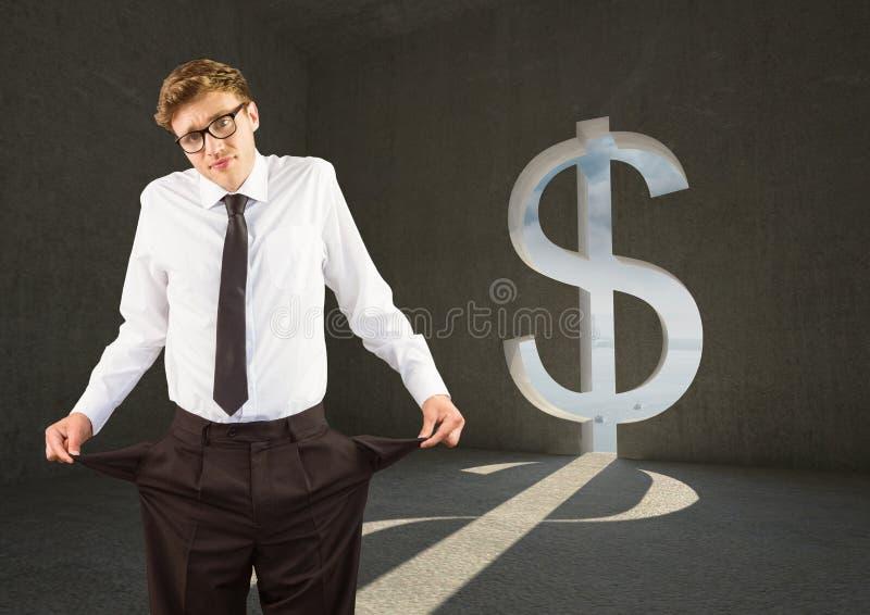 Jonge zakenman met lege zakken in een dollarruimte royalty-vrije stock afbeeldingen