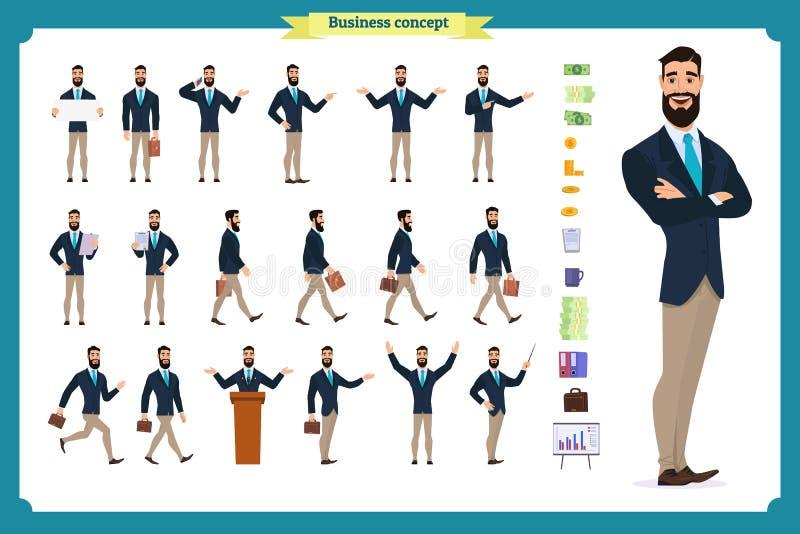 Jonge zakenman Verschillend stelt en emoties, het lopen, status, het zitten, boos lopen, gelukkig, stock illustratie