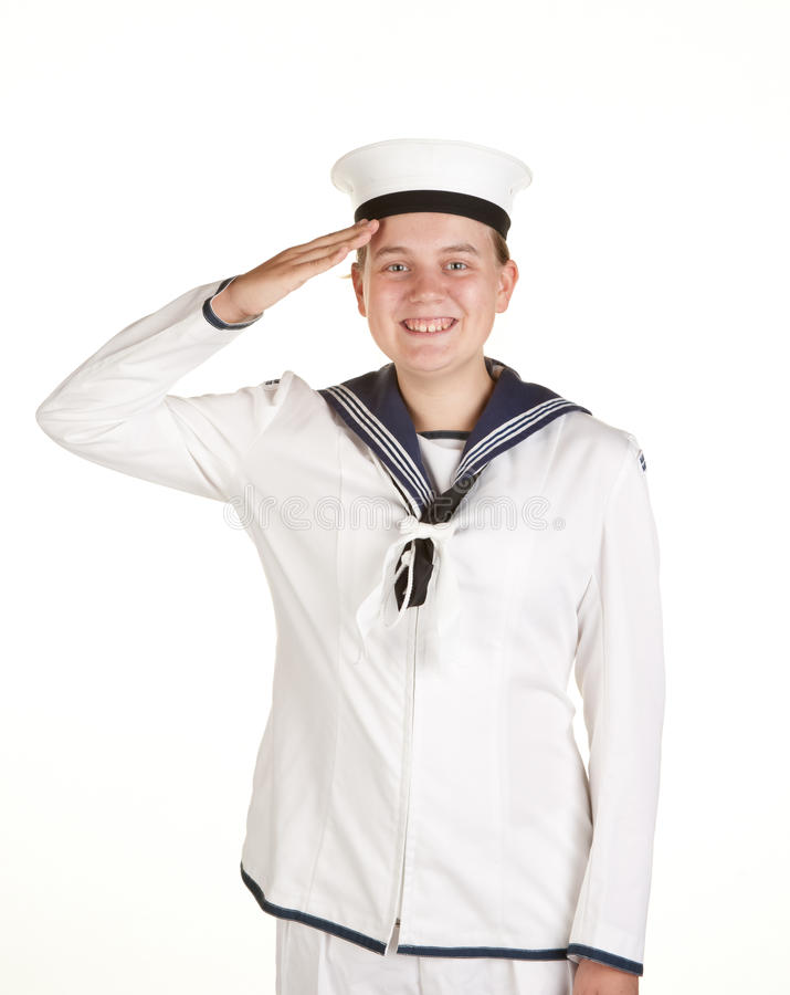Jonge zeeman die geïsoleerdei witte achtergrond groet