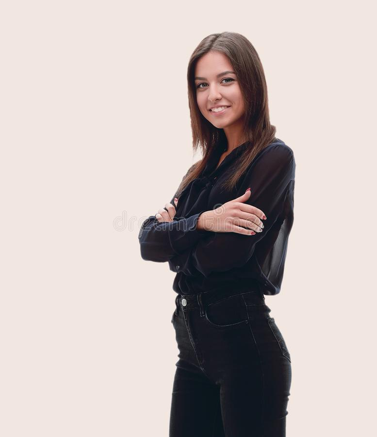 Jonge zekere bedrijfsvrouw Het Portret van gemiddelde lengte royalty-vrije stock afbeeldingen