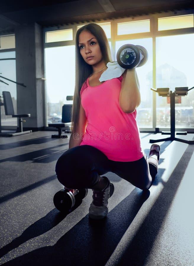 Jonge zekere vrouw die bicepsenoefening met domoren in geschiktheidsgymnastiek doen Slanke meisje opleiding royalty-vrije stock foto's