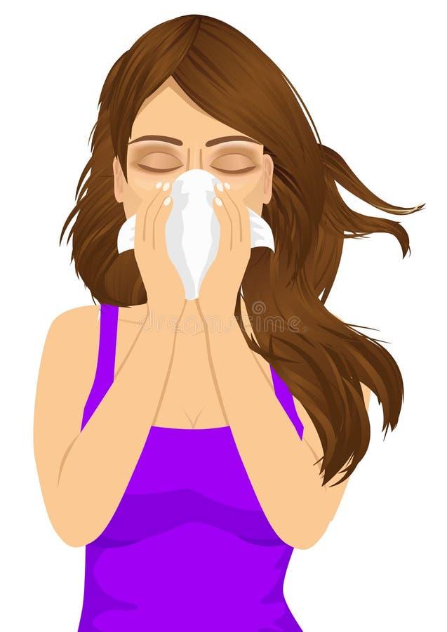 Jonge zieke vrouwen zieke lijdende allergie vector illustratie