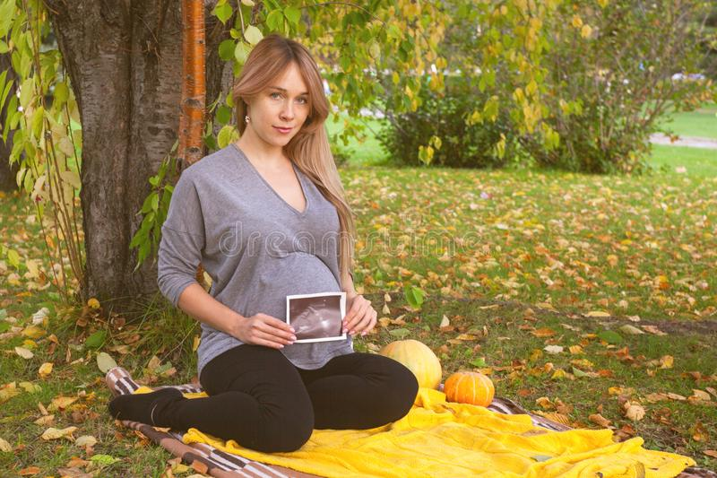 Jonge zwangere vrouwenzitting in het de herfstpark en het kijken atultrasounds beelden van baby stock fotografie