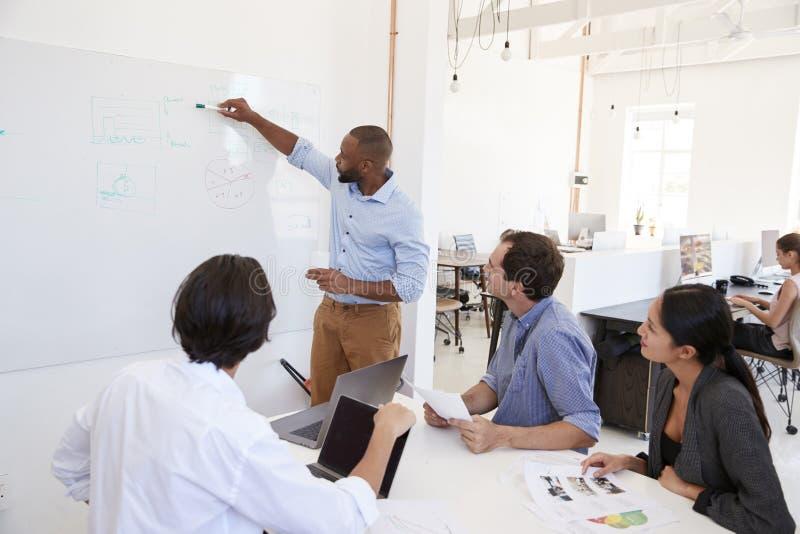 Jonge zwarte mens die een whiteboard in een bureauvergadering gebruiken stock afbeeldingen
