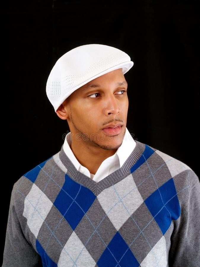 Jonge zwarte mens in sweater en wit GLB royalty-vrije stock foto's