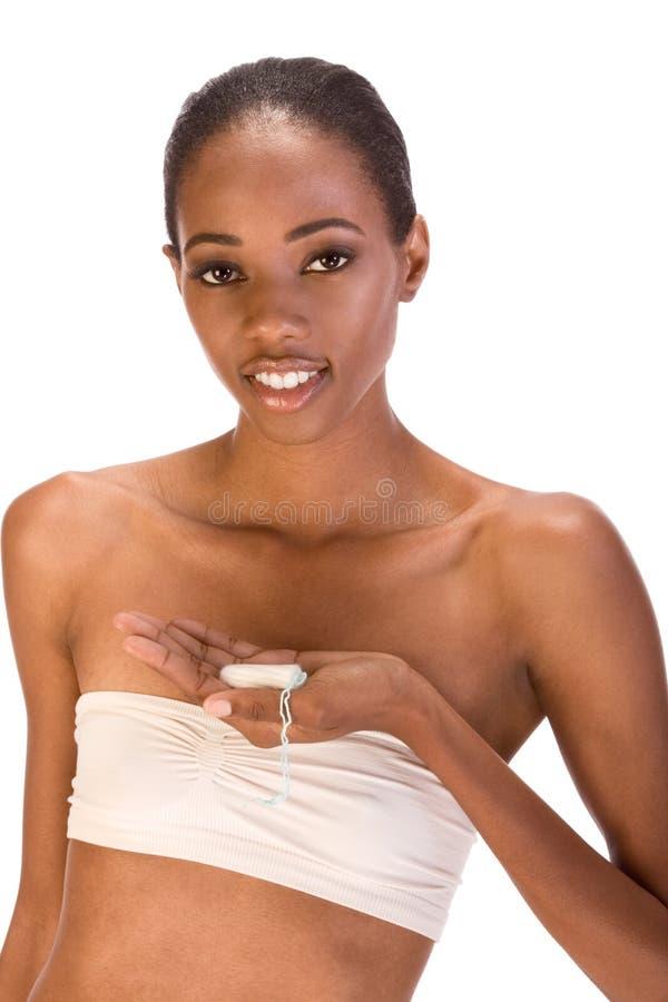 Jonge zwarte met katoenen hygiënische tampon royalty-vrije stock afbeeldingen