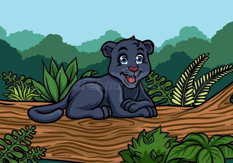 Jonge zwarte panter in de wildernis royalty-vrije illustratie