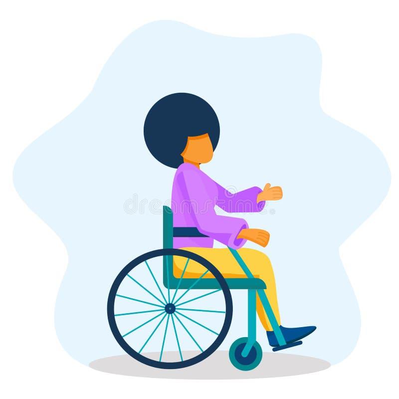 Jonge zwarte vrouw in een rolstoel Afrikaans-Amerikaans meisje heeft lege handen opgestoken, leeft met een handicap, gelijke kans vector illustratie