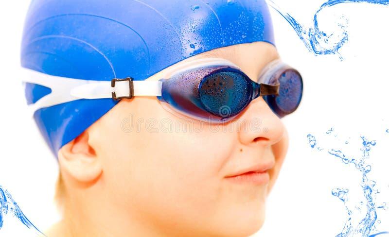 Jonge zwemmer. Isolatie op wit. stock afbeeldingen