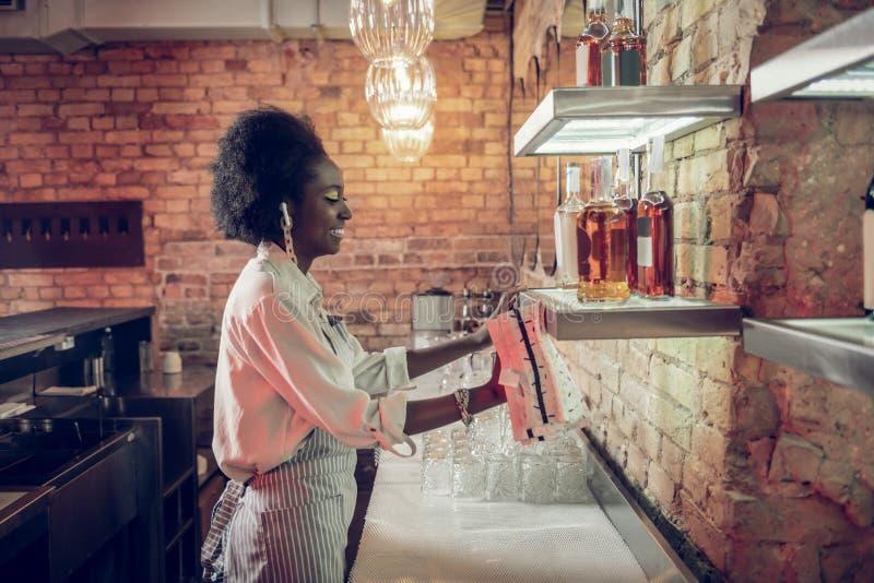 Jongelui die Afro-Amerikaanse bararbeider glimlachen die het schoonmaken met handdoek maken stock fotografie