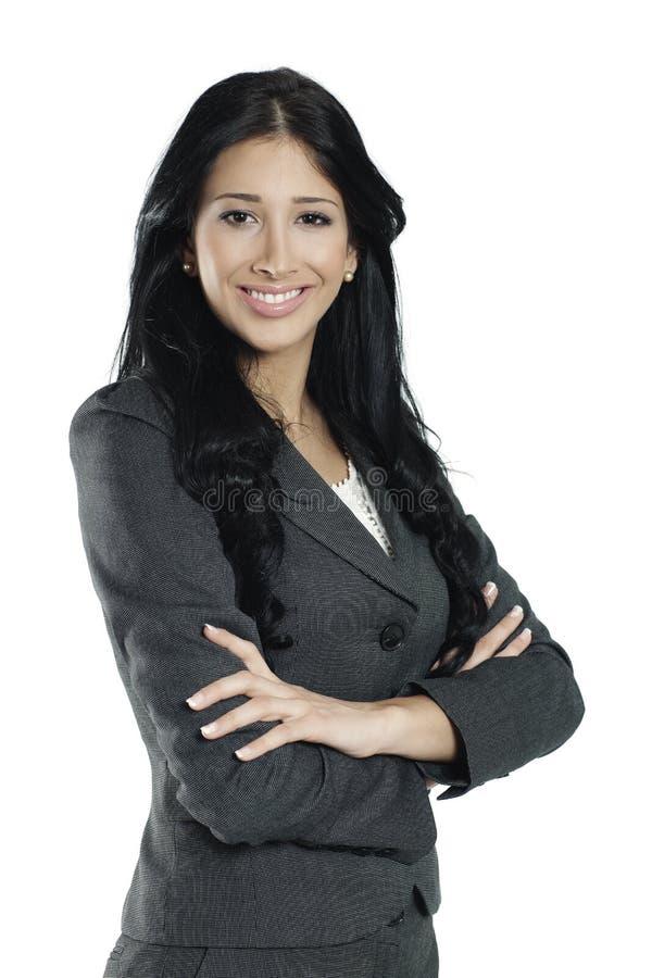 Jongelui die zekere vrouw glimlachen royalty-vrije stock afbeeldingen