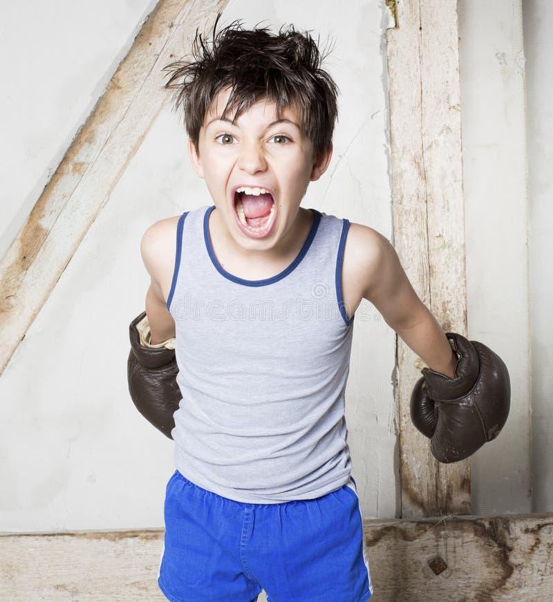 Jongen als bokser royalty-vrije stock fotografie