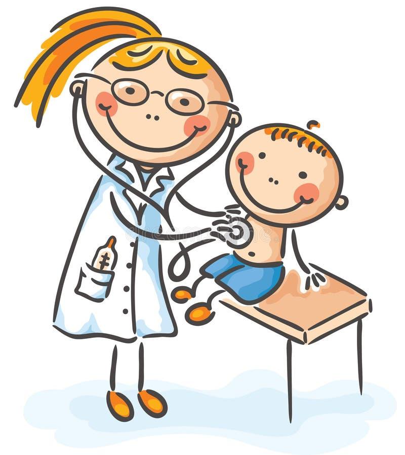 Jongen bij de arts stock illustratie