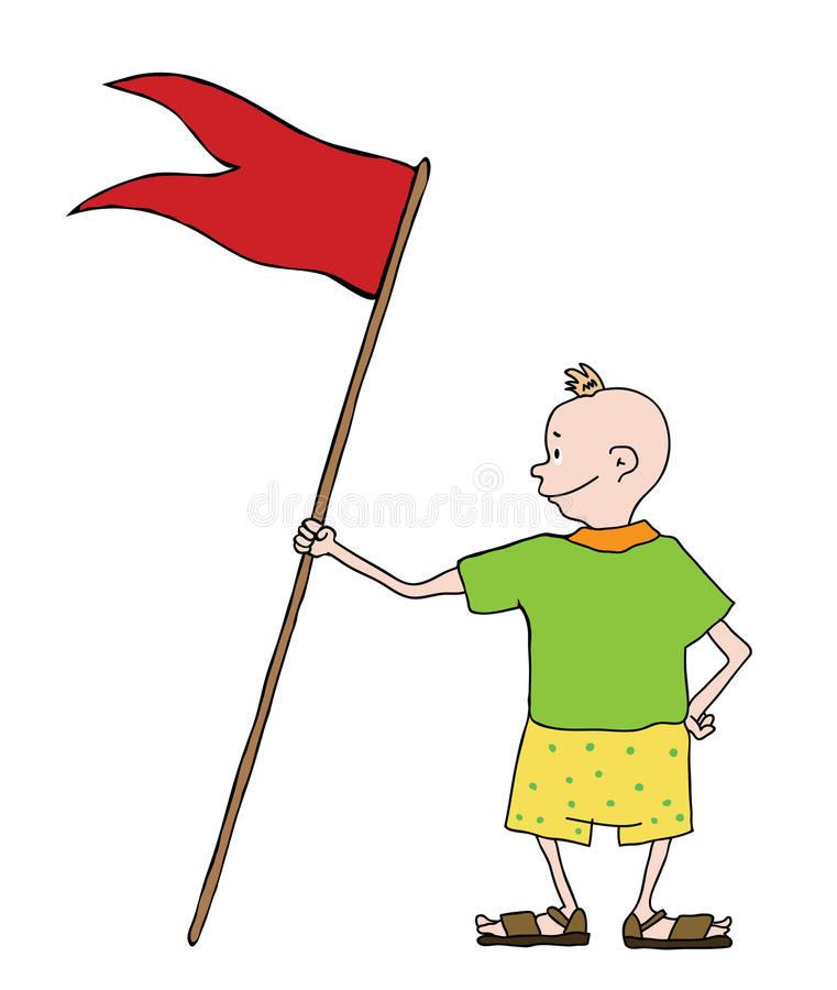 Jongen in borrels met vlag, vector stock illustratie