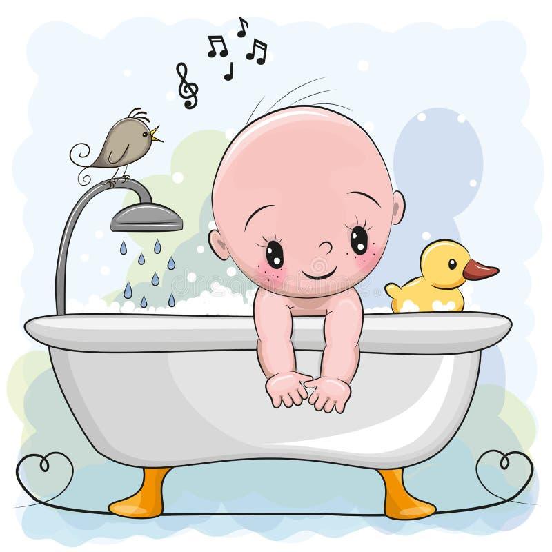 Jongen in de badkamers stock illustratie