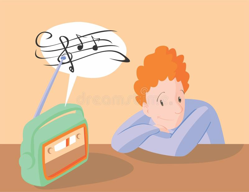 Jongen Die Aan Muziek Op Radio Luisteren Vector ...