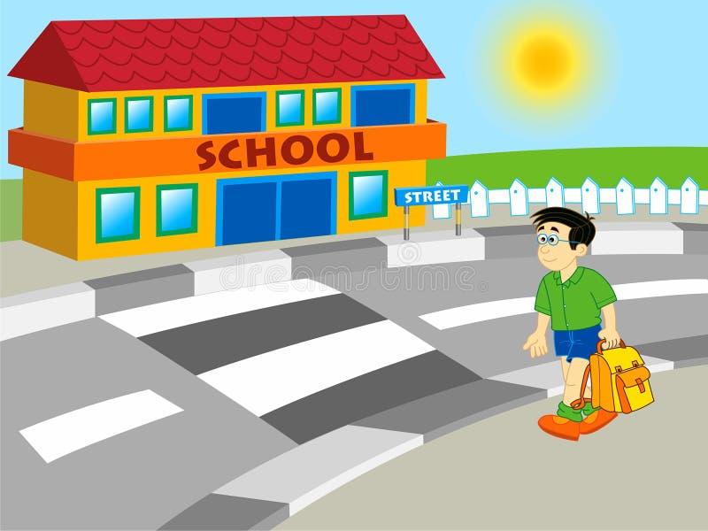 Jongen die aan school loopt royalty-vrije illustratie