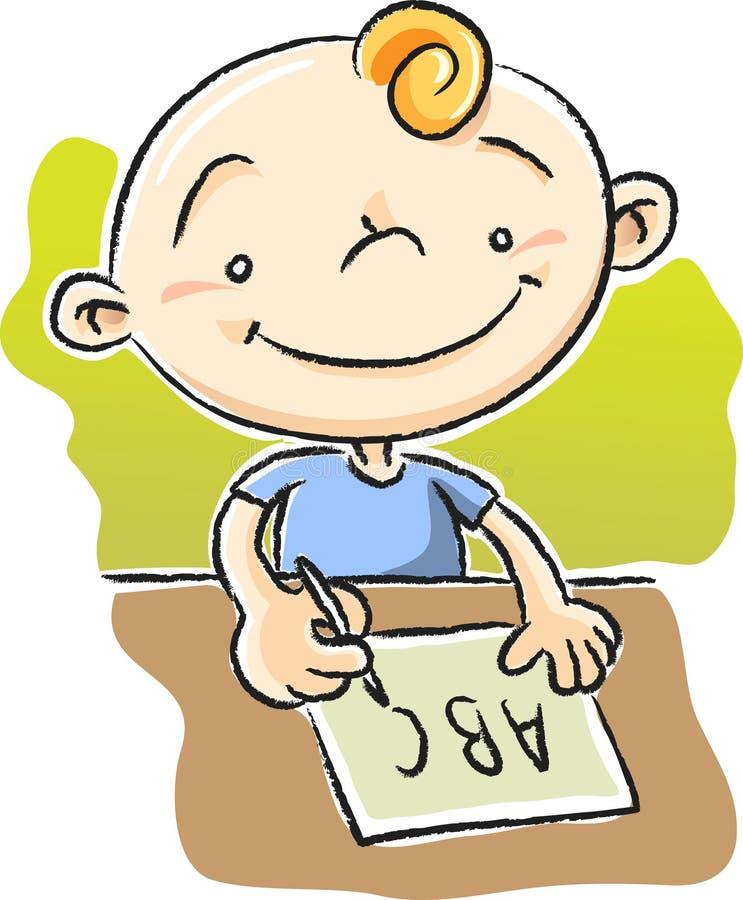 Jongen die ABC schrijft vector illustratie