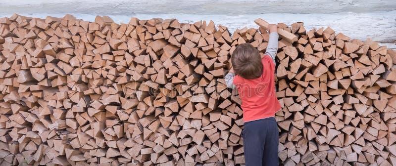 Jongen die brandhout verzamelen Hout als brandstof wordt gebrand die Brandhout langs de muur wordt gestapeld die Het natuurlijke  royalty-vrije stock foto's