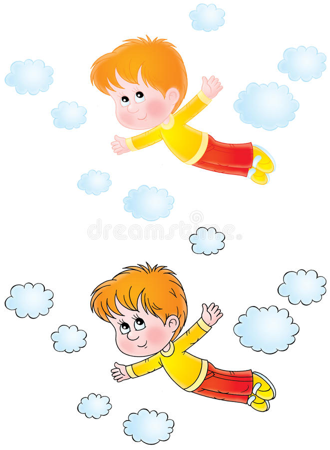 Jongen die in dromen vliegt royalty-vrije illustratie