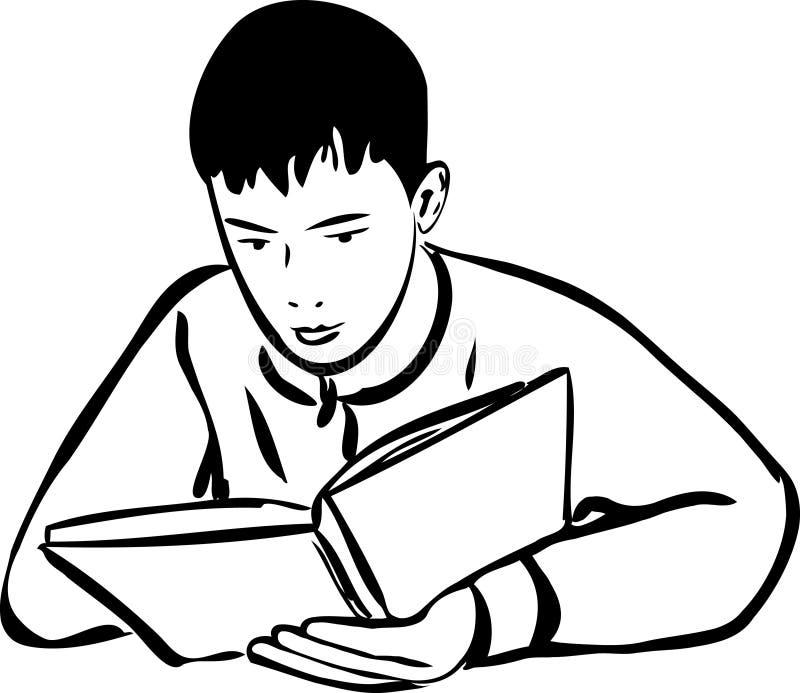 Jongen die een boekoverzicht leest vector illustratie