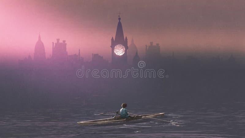 Jongen die een boot in het overzees roeien stock illustratie