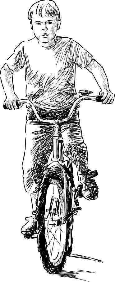 Jongen die een fiets berijden stock illustratie