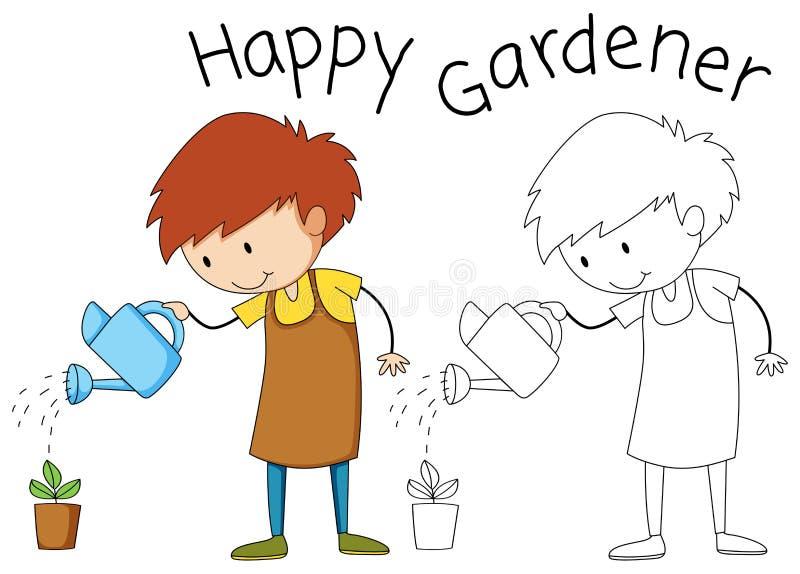 Jongen die een installatie water geven stock illustratie