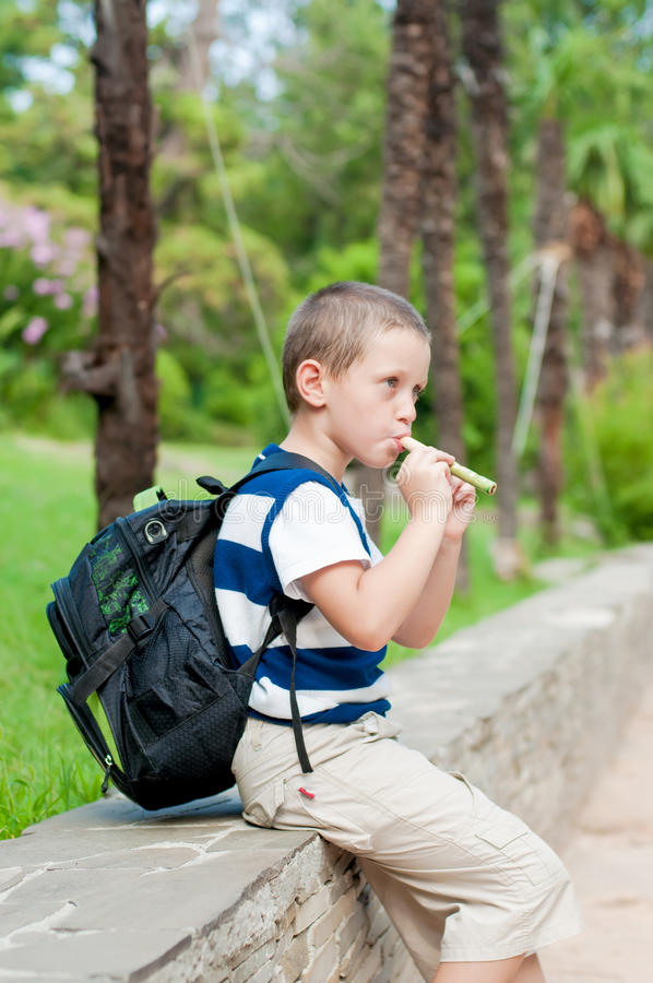 jongen die een pijp spelen royalty-vrije stock afbeeldingen