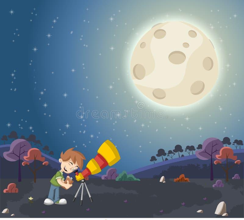 Download Jongen Die Een Telescoop Gebruiken Om De Maan Te Bekijken Vector Illustratie - Illustratie bestaande uit avontuur, persoon: 54085174