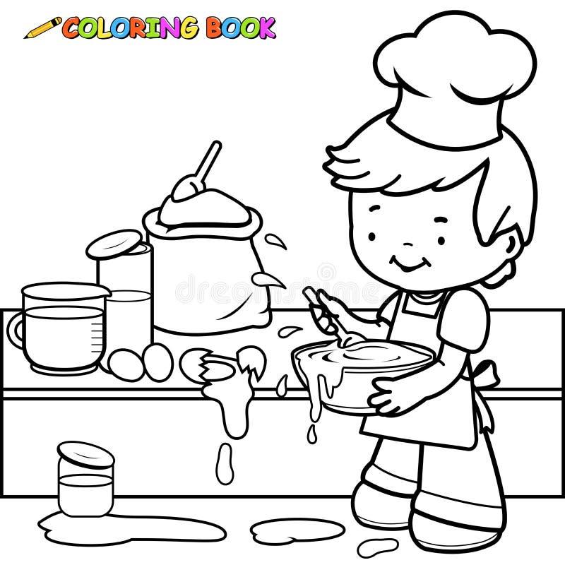 Jongen die en kleurende pagina koken maken knoeien stock illustratie