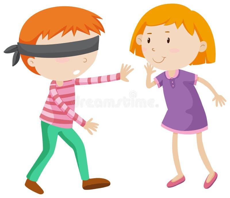 Jongen die gevouwen blinden zijn vector illustratie