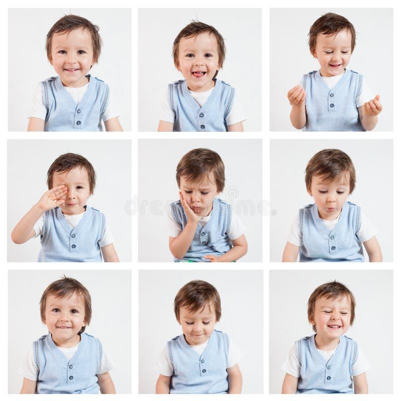 Jongen, die grappige gezichten op een witte achtergrond maken royalty-vrije stock foto