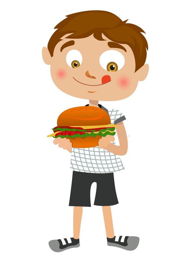 Jongen die hamburger eet stock illustratie