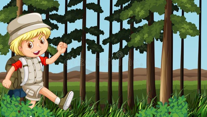 Jongen die in het hout wandelen royalty-vrije illustratie