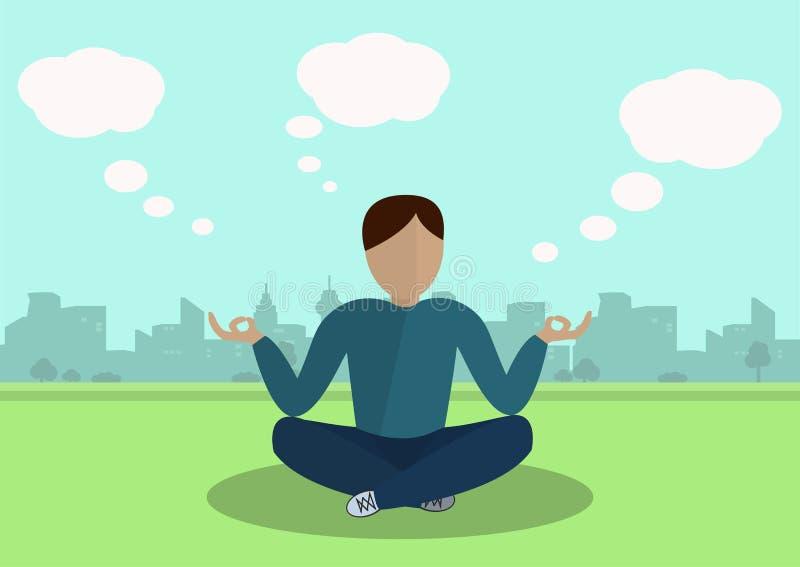 Jongen die in het Park mediteren stock illustratie