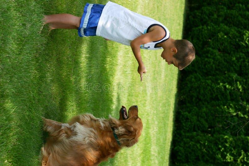 Jongen die Hond instrueert stock fotografie